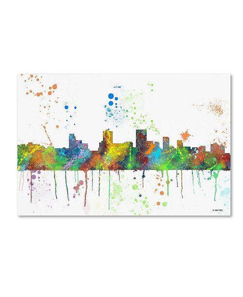 """Trademark Global Marlene Watson 'Springfield Illinois Skyline Mclr-1' Canvas Art - 16"""" x 24"""""""