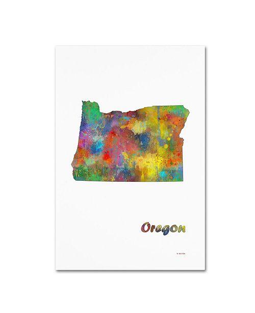 "Trademark Global Marlene Watson 'Oregon State Map-1' Canvas Art - 16"" x 24"""