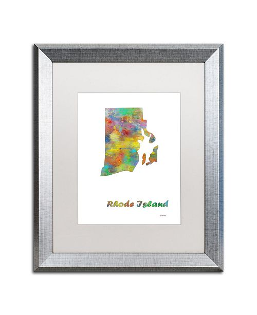 "Trademark Global Marlene Watson 'Rhode Island State Map-1' Matted Framed Art - 16"" x 20"""
