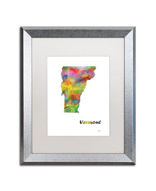 "Trademark Global Marlene Watson 'Vermont State Map-1' Matted Framed Art - 16"" x 20"""