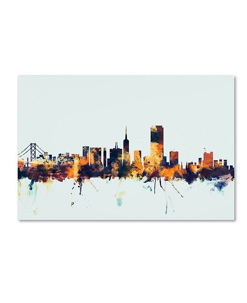 "Trademark Global Michael Tompsett 'San Francisco Skyline Blue' Canvas Art - 16"" x 24"""