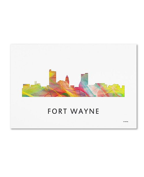 "Trademark Global Marlene Watson 'Fort Wayne Indiana Skyline WB-1' Canvas Art - 16"" x 24"""
