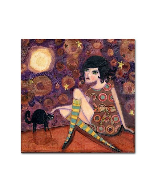 "Trademark Global Wyanne 'Big Eyed Girl Full Moon' Canvas Art - 18"" x 18"""