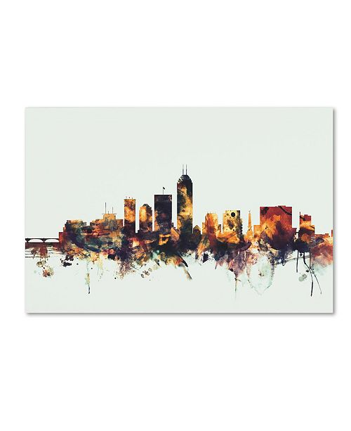 "Trademark Global Michael Tompsett 'Indianapolis Indiana Skyline' Canvas Art - 16"" x 24"""