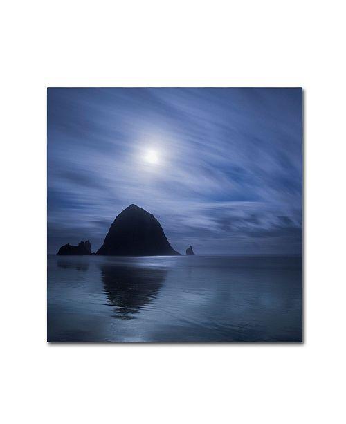 """Trademark Global Moises Levy 'Moon Over Canon Beach' Canvas Art - 18"""" x 18"""""""