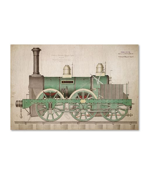 "Trademark Global Vintage Apple Collection 'Vintage Train' Canvas Art - 16"" x 24"""