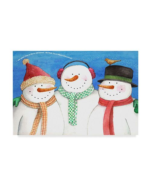 "Trademark Global Melinda Hipsher 'Three Snowmen Sing' Canvas Art - 16"" x 24"""