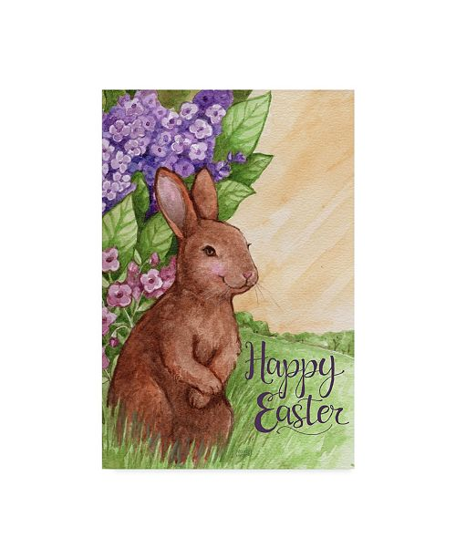 "Trademark Global Melinda Hipsher 'Happy Easter Bunny In Lilacs' Canvas Art - 16"" x 24"""