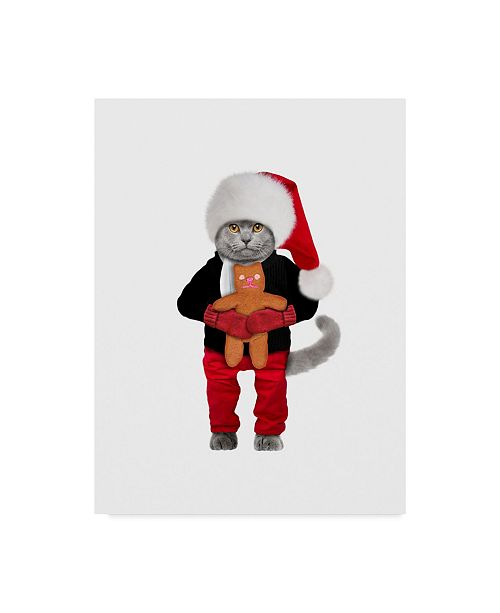 "Trademark Global J Hovenstine Studios 'Santa Cat' Canvas Art - 24"" x 32"""