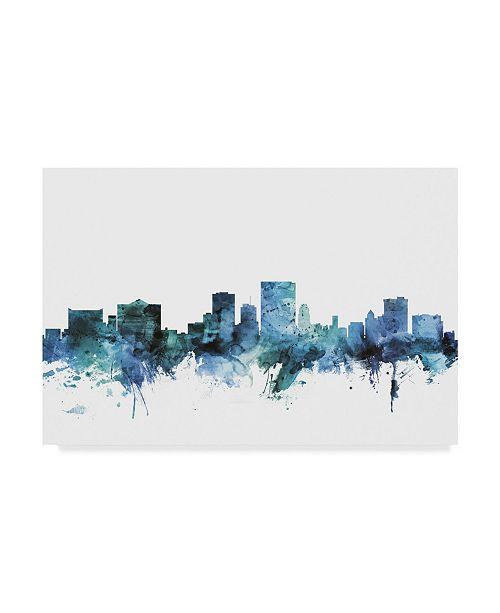 "Trademark Global Michael Tompsett 'El Paso Texas Blue Teal Skyline' Canvas Art - 19"" x 12"""