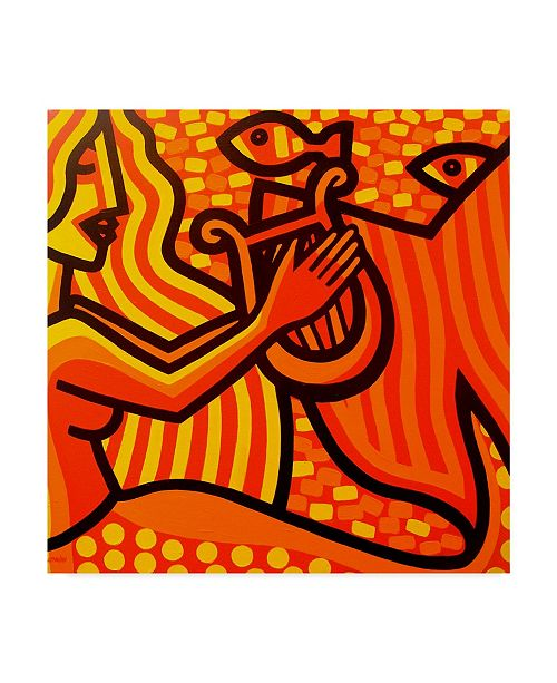 "Trademark Global John Nolan 'Mermaid Music' Canvas Art - 14"" x 14"""