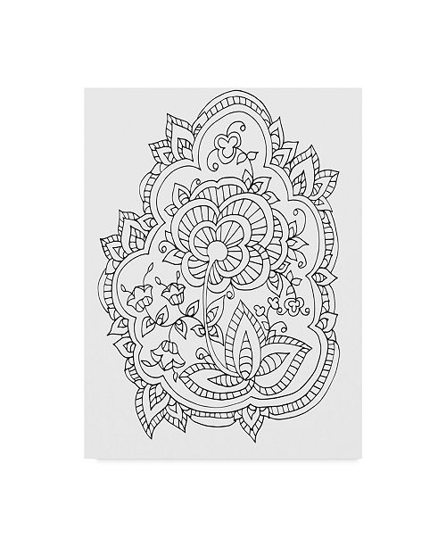 "Trademark Global Jessica Putnam 'Floral With Border 3' Canvas Art - 18"" x 24"""