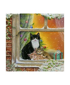 "Janet Pidoux 'Christmas Window' Canvas Art - 14"" x 14"""