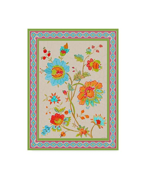 """Trademark Global Jean Plout 'Fiesta Floral Tapestry 1' Canvas Art - 18"""" x 24"""""""