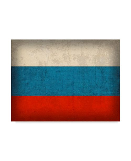 """Trademark Global Red Atlas Designs 'Russia Distressed Flag' Canvas Art - 19"""" x 14"""""""