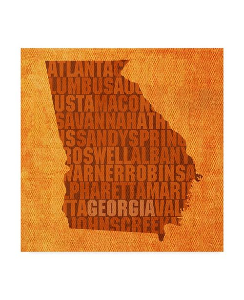 "Trademark Global Red Atlas Designs 'Georgia State Words' Canvas Art - 18"" x 18"""