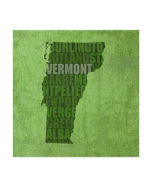 "Trademark Global Red Atlas Designs 'Vermont State Words' Canvas Art - 18"" x 18"""