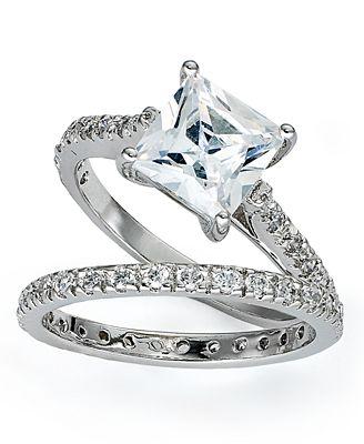 Giani Bernini Sterling Silver Rings Set Cubic Zirconia Princess