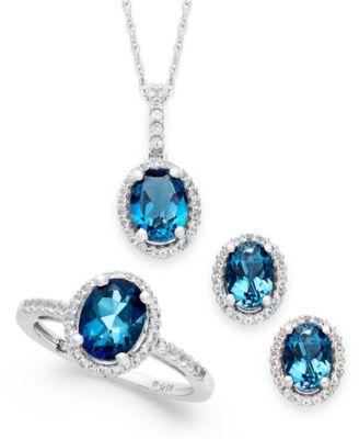 London Blue Topaz and White Topaz Jewelry Set 512 ct tw in