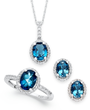 London Blue Topaz and White Topaz Jewelry Set (5-1/2 ct. t.w.) in Sterling Silver