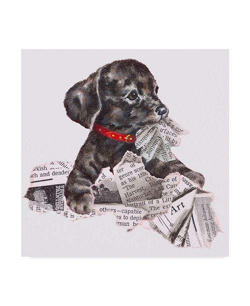 "Trademark Global Peggy Harris 'Newspaper Pup' Canvas Art - 14"" x 14"""