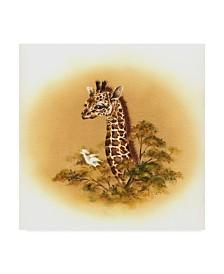 "Peggy Harris 'Giraffe Baby' Canvas Art - 14"" x 14"""