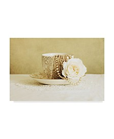 "Tom Quartermaine 'Antique Cup And Saucer With White Flower And Pearls' Canvas Art - 19"" x 12"""