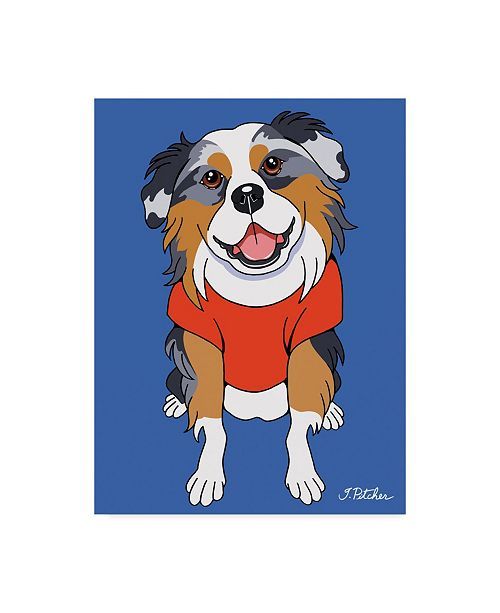 "Trademark Global Tomoyo Pitcher 'Australian Shepherd Illustration' Canvas Art - 18"" x 24"""