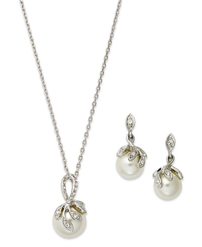 Charter Club Silver-Tone Glass Crystal Drop Earring and Necklace Set