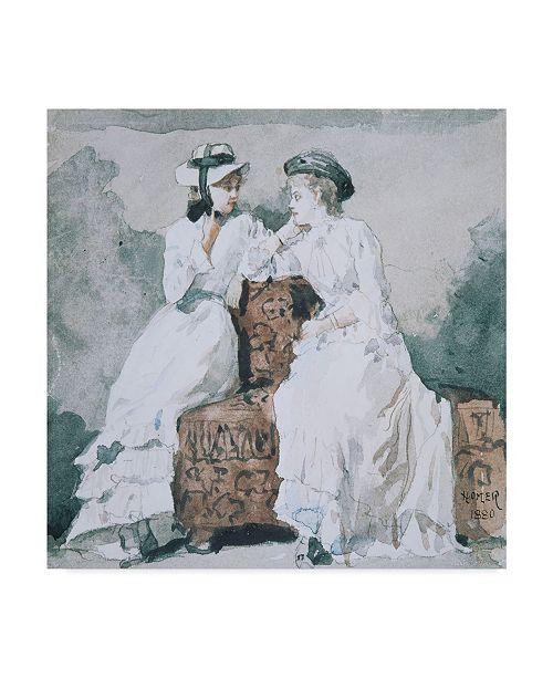 "Trademark Global Winslow Homer 'Two Ladies, 1880' Canvas Art - 18"" x 18"""