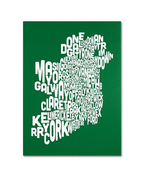 """Trademark Global Michael Tompsett 'FOREST-Ireland Text Map' Canvas Art - 18"""" x 24"""""""