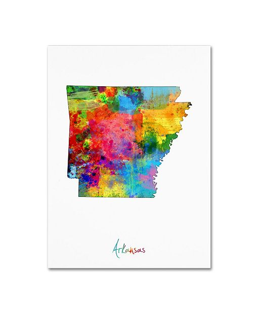 "Trademark Global Michael Tompsett 'Arkansas Map' Canvas Art - 18"" x 24"""