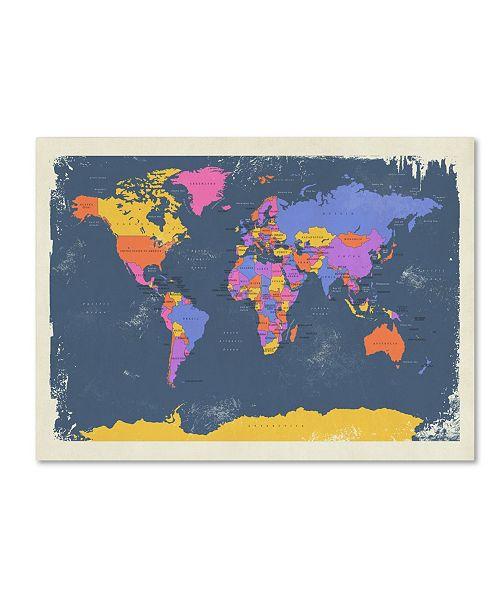 "Trademark Global Michael Tompsett 'Retro Political Map of the World 2' Canvas Art - 16"" x 24"""