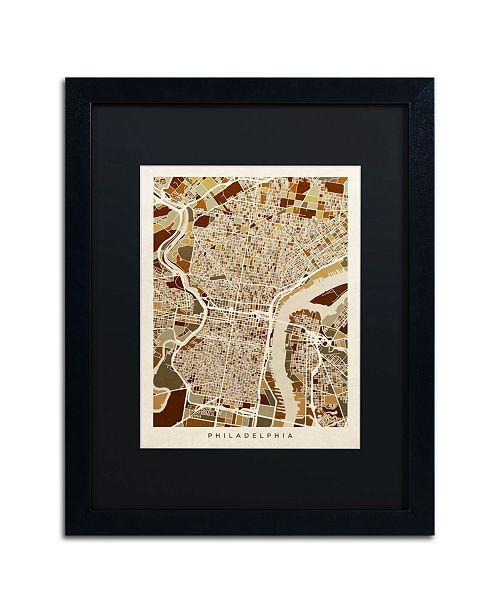 """Trademark Global Michael Tompsett 'Philadelphia Street Map II' Matted Framed Art - 16"""" x 20"""""""