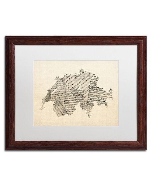 "Trademark Global Michael Tompsett 'Sheet Music Map of Switzerland' Matted Framed Art - 16"" x 20"""
