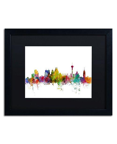 "Trademark Global Michael Tompsett 'San Antonio Texas Skyline' Matted Framed Art - 16"" x 20"""
