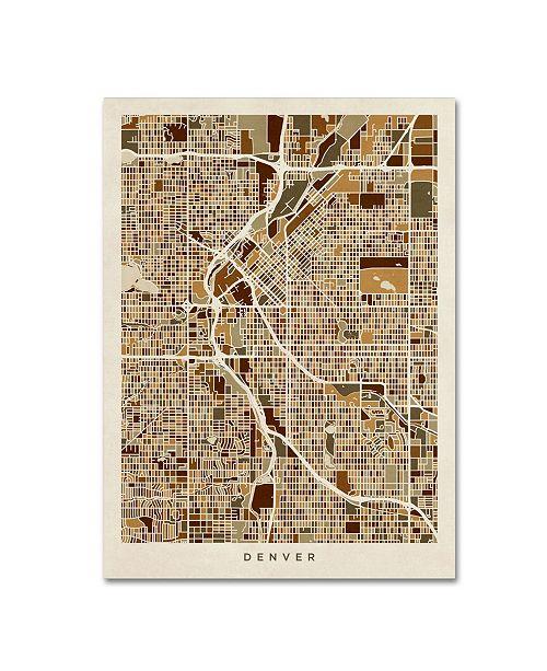 """Trademark Global Michael Tompsett 'Denver CO Street Map Brown' Canvas Art - 24"""" x 32"""""""