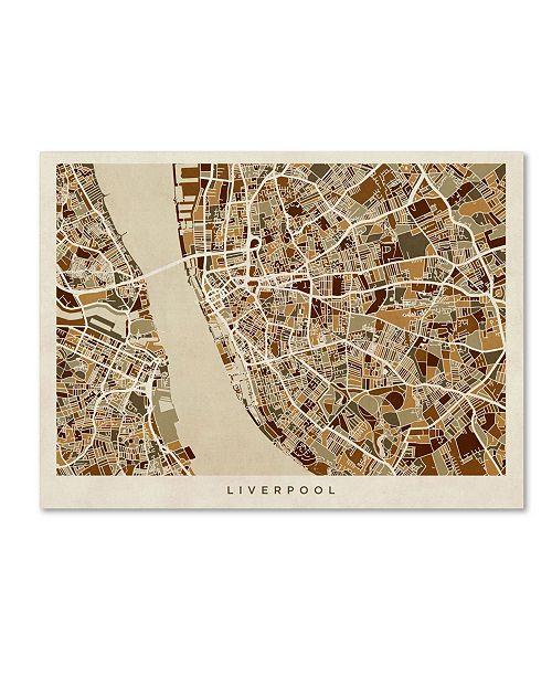 """Trademark Global Michael Tompsett 'Liverpool England Street Map 3' Canvas Art - 24"""" x 32"""""""