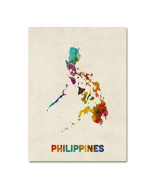 "Trademark Global Michael Tompsett 'Philippines Watercolor Map' Canvas Art - 24"" x 32"""