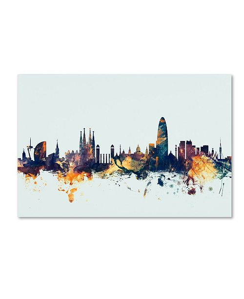 "Trademark Global Michael Tompsett 'Barcelona Spain Skyline Blue' Canvas Art - 30"" x 47"""
