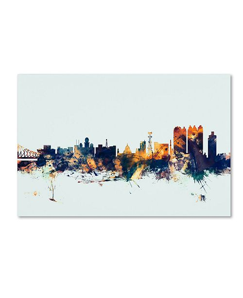 "Trademark Global Michael Tompsett 'Calcutta India Skyline Blue' Canvas Art - 22"" x 32"""