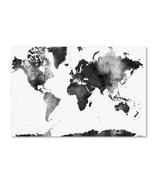 "Trademark Global Marlene Watson 'World Map BG-1' Canvas Art - 35"" x 47"""