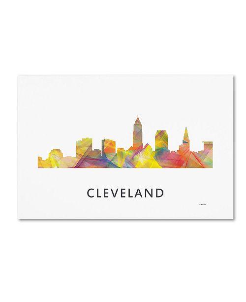 "Trademark Global Marlene Watson 'Cleveland Ohio Skyline WB-1' Canvas Art - 22"" x 32"""