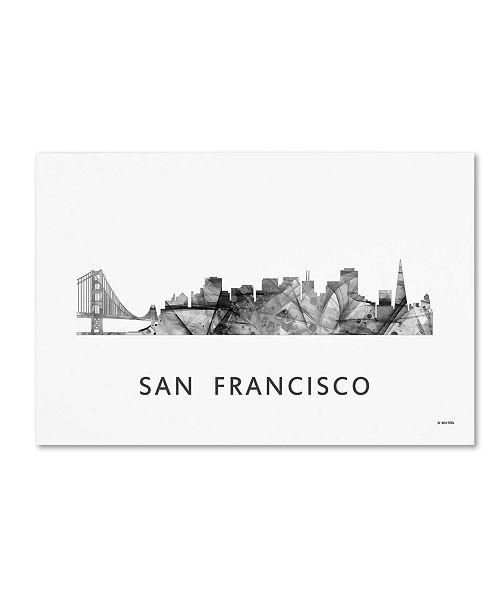 "Trademark Global Marlene Watson 'San Francisco CA Skyline WB-BW' Canvas Art - 30"" x 47"""