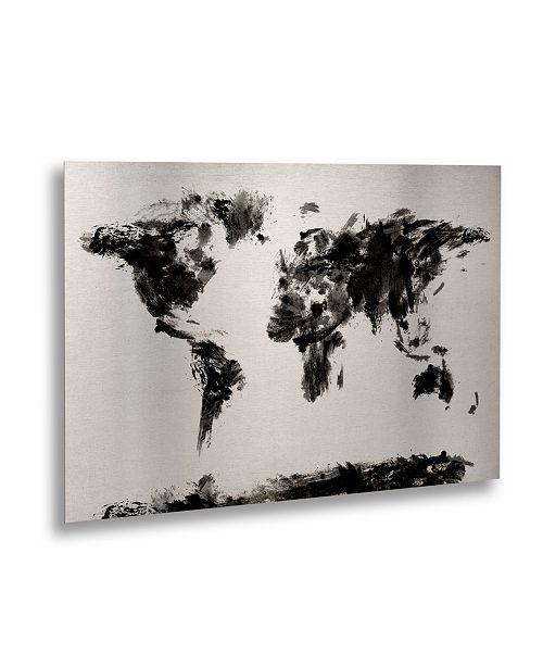 "Trademark Global Michael Tompsett 'Abstract Map' Floating Brushed Aluminum Art - 22"" x 16"""