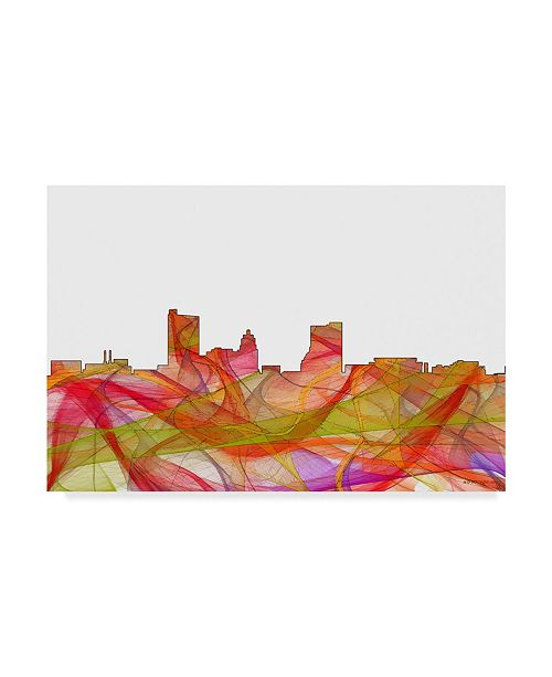 "Trademark Global Marlene Watson 'Fort Wayne Indiana Skyline' Canvas Art - 22"" x 32"""