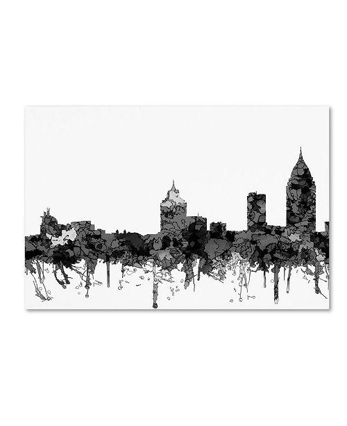 "Trademark Global Marlene Watson 'Mobile Alabama Skyline BW' Canvas Art - 22"" x 32"""
