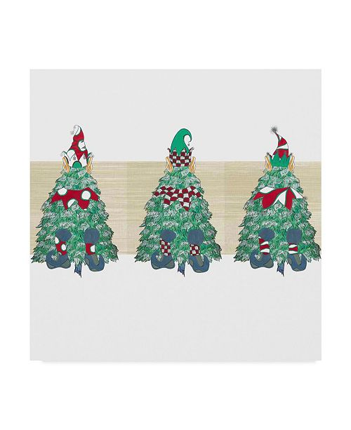 "Trademark Global Jessmessin 'Christmas Tree Elves Image' Canvas Art - 24"" x 24"""