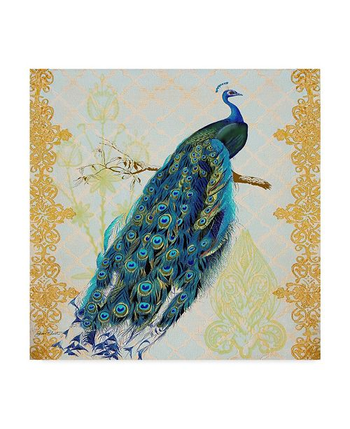 """Trademark Global Jean Plout 'Beautiful Peacock Right' Canvas Art - 35"""" x 35"""""""