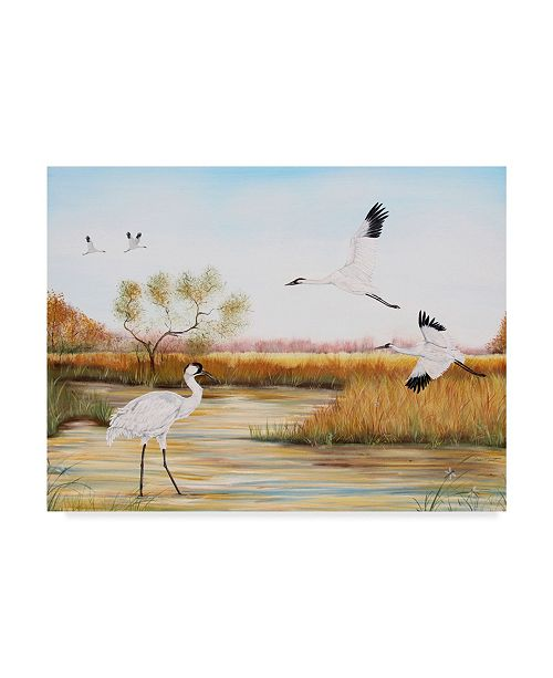 """Trademark Global Jean Plout 'Whooping Cranes' Canvas Art - 24"""" x 32"""""""